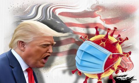 Caricature Donald Trump positive for covid