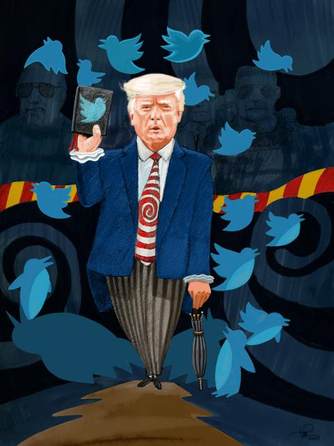 The Penguin (from the series Gotham characters) - Donald Trump with a Twitted Bible