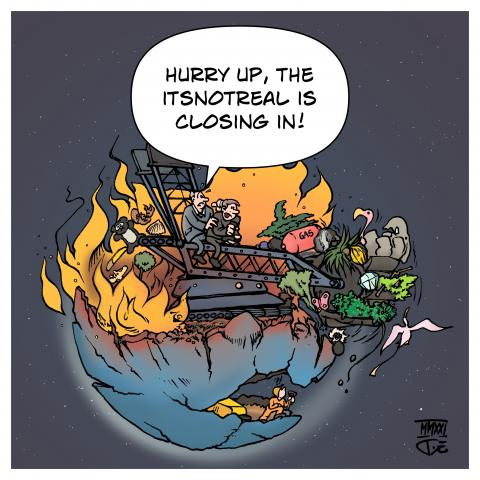 climate crisis climageddon armageddon world planet earth no planet b mining coal business as usual emissions industry cartoon timo essner
