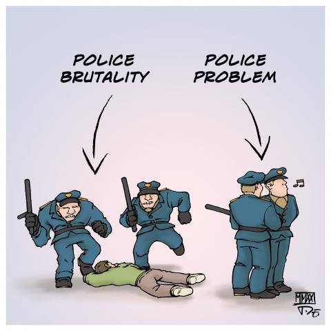 police brutality violence icantbreathe blacklivesmatter defund the police police problem racism racial profiling sexism minorities Cartoon Timo Essner