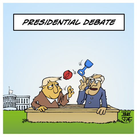 Cartoon by Timo Essner on the US presidential debate on TV between Donald Trump and Joe Biden aka shitshow requiring a mute button