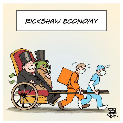 corona covid19 rickshaw economy social care delivery service low wage jobs high profit crisis