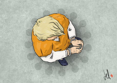 cartoon by emanuele del rosso about trump and coronavirus