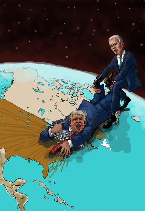 Cartoon about Trump and Biden