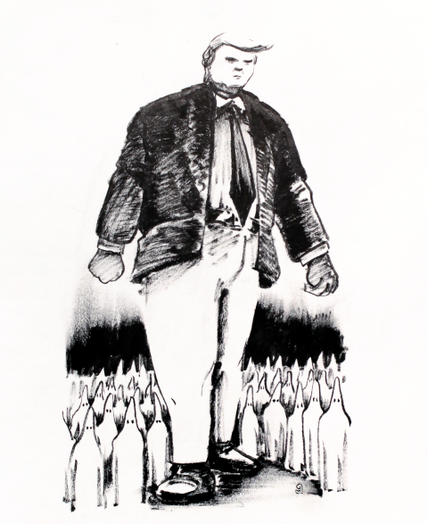 Donald Trump marching with his susteinors