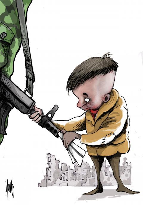 Como puede reaccionar la ingenuidad de un niño ante tanta violencia y destrucción a que es sometido