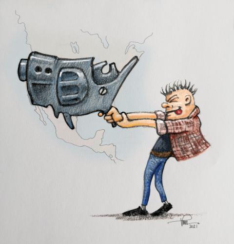 Cartoon about US gun culture