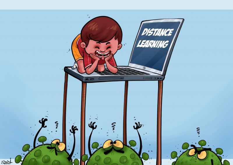 cartoon about the coronavirus and education