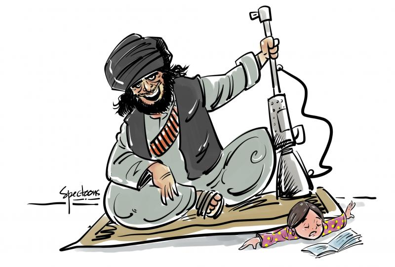 Cartoon about the Taliban taking over Afghanistan
