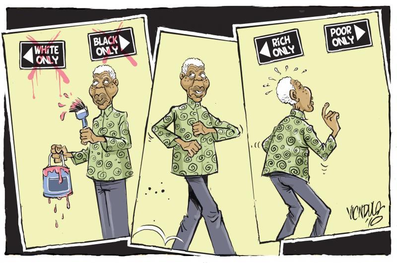 Cartoon about Nelson Mandela