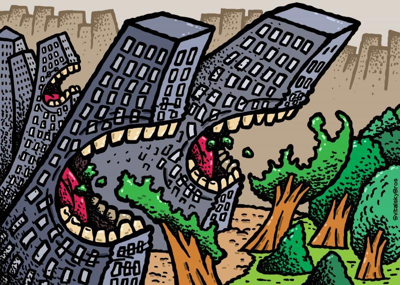 Cartoon about urbanization