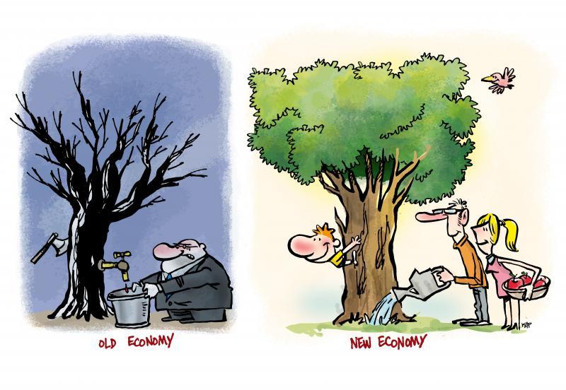 Cartoon about sustainable economy
