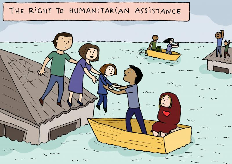 Cartoon about the right to humanitarian assistance
