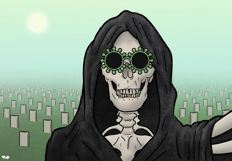 Cartoon about the death toll of the coronavirus