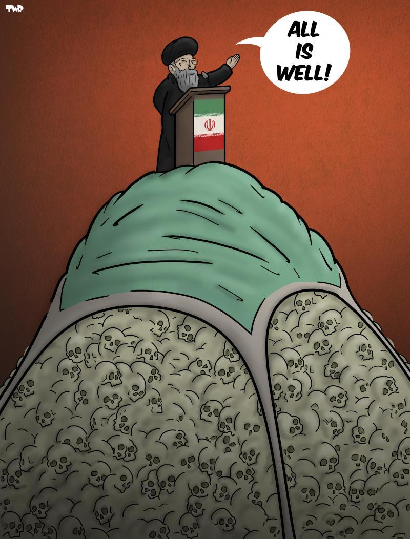 cartoon about the coronavirus in Iran
