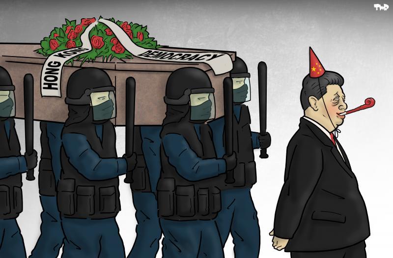 Cartoon about China and Hong Kong