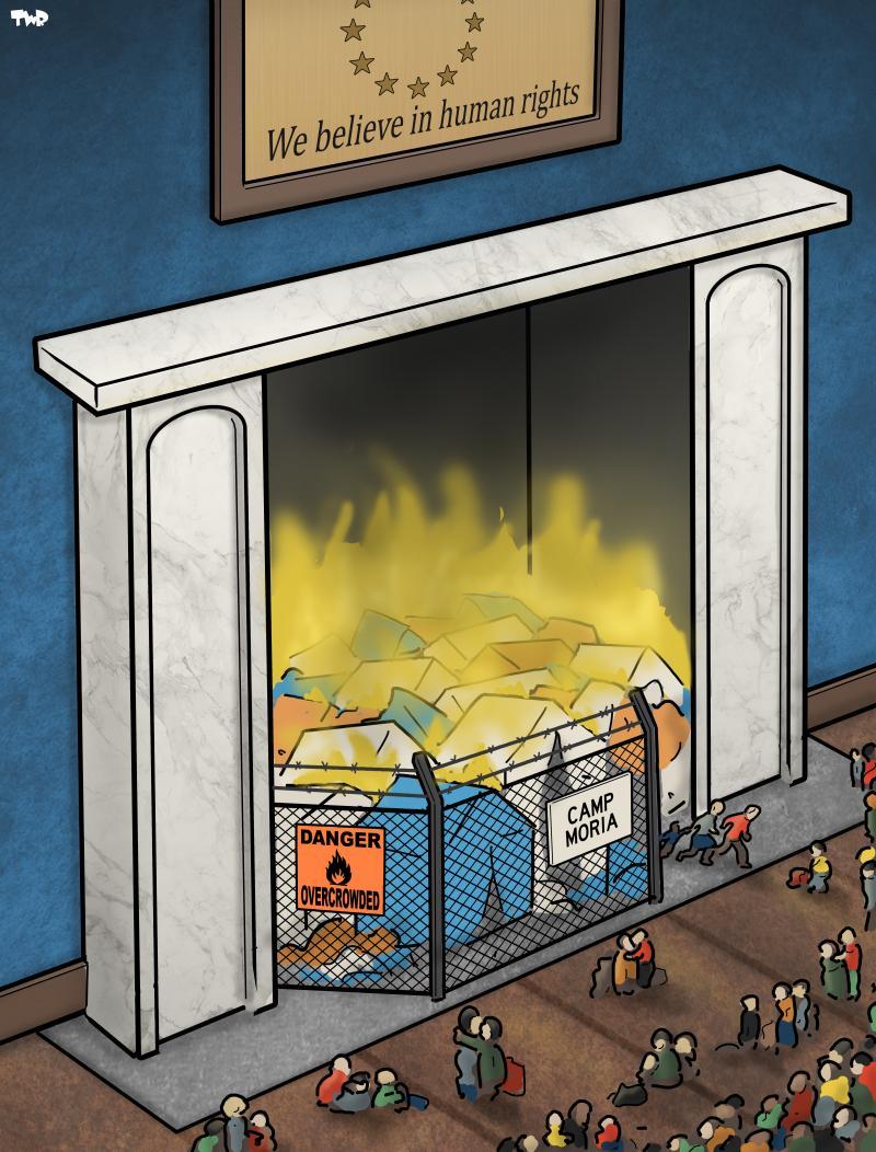 Cartoon about refugee camp Moria