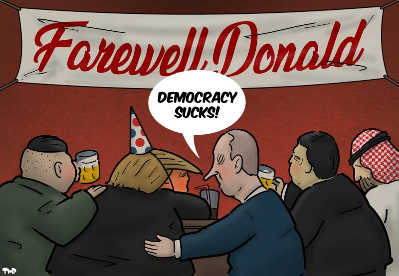 Cartoon about the defeat of Trump