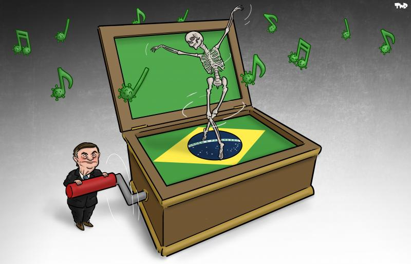 Cartoon about Bolsonaro and corona