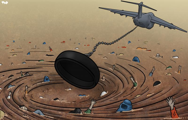 Cartoon about the evacuation of Afghanistan