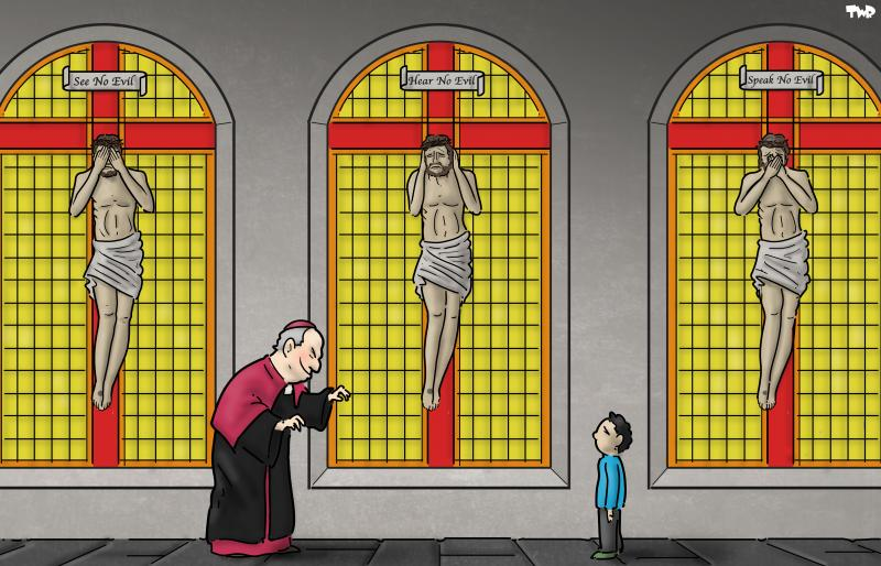 Cartoon about child abuse in the Catholic Church