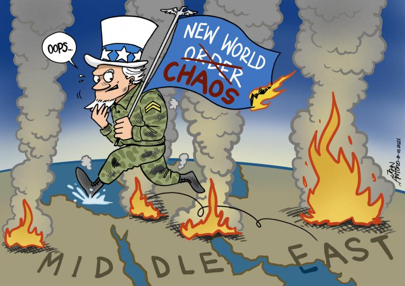 """Uncle Sam, the personification of the American military machine, leaves the Middle East leaving behind only flames and debris. On the flag he is holding we read the phrase """"New World Chaos"""""""