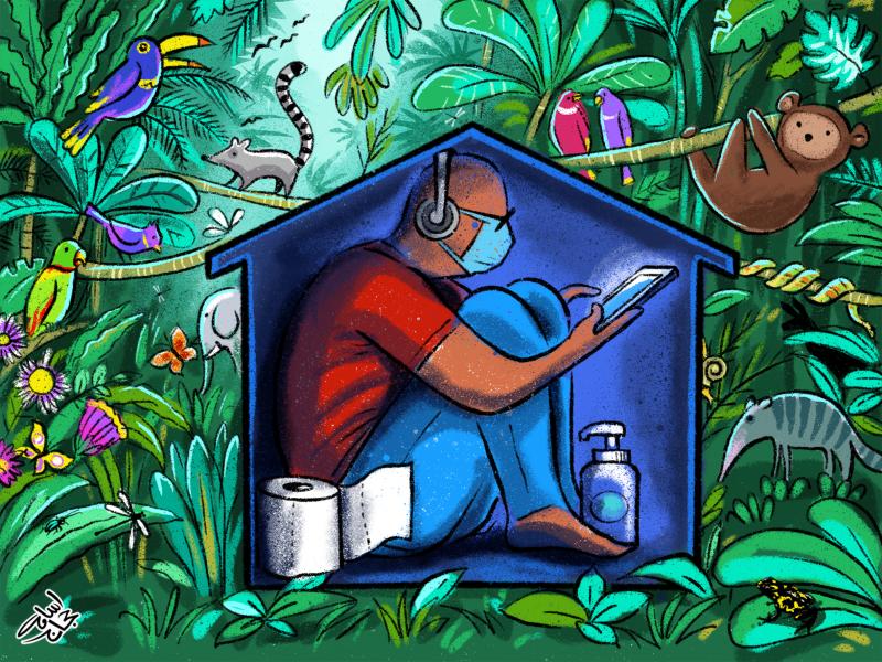 Cartoon about man versus nature
