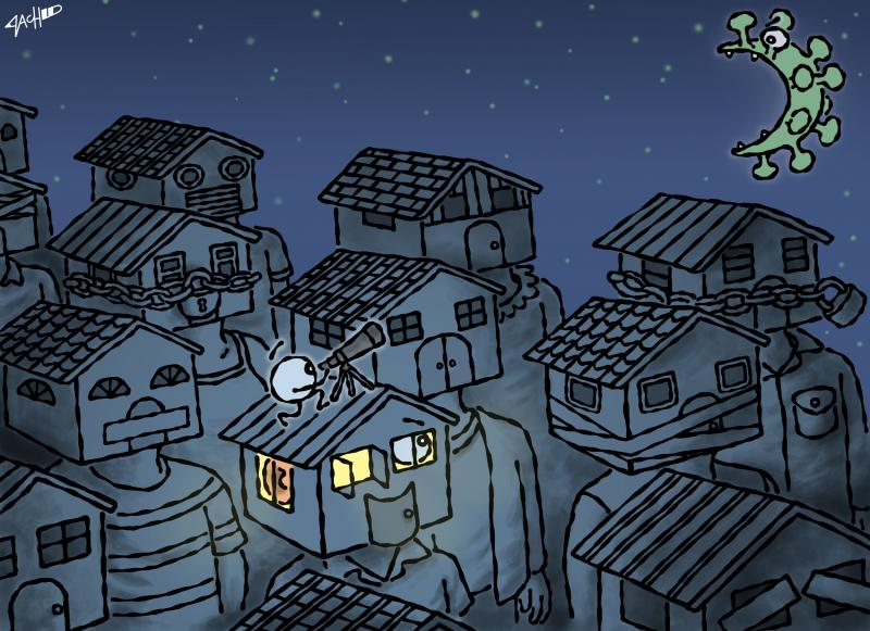 Cartoon about the lockdown