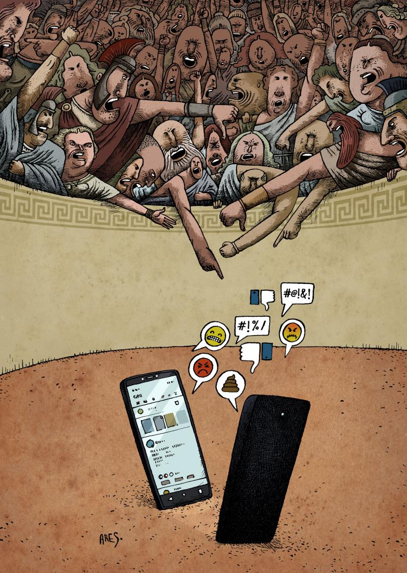 Cartoon about social media