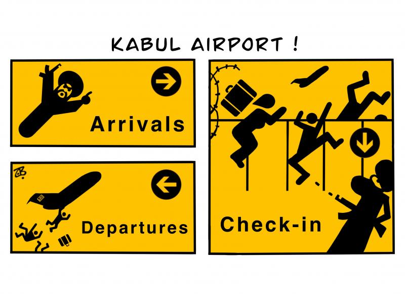Cartoon about Kabul airport