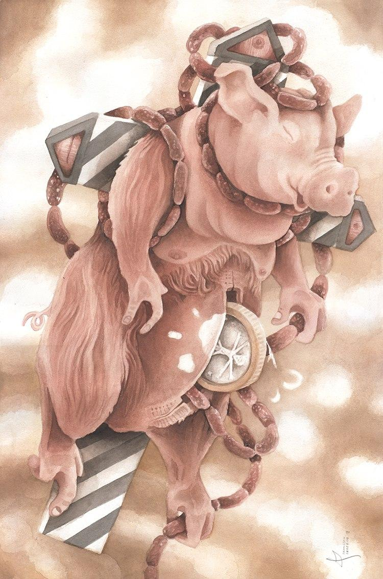 A metaphor of a saving account pig shaped, flying on a cross, where it's tied with sausages, coming out from its belly alongside  the Euro coin with the Vitruvian Man