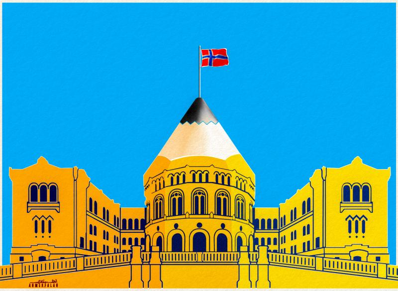 """The Political Caricature in the Norwegian Parliament A Norwegian Caricature exhibition was held in the Norwegian Parliament """"Stortinget"""" with the efforts of """"Avstegnernes Hus""""  As an illustrator, I am very proud of this event, as it is of great support to the freedom of expression, while the art of Political Caricature is being suppressed. A collection of the best Norwegian satirical Caricatures were selected from 2010 to 2020 for the exhibition.  It is a beginning of a collaboration of an annual contempora"""