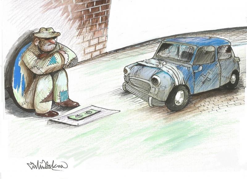 Beggar and car