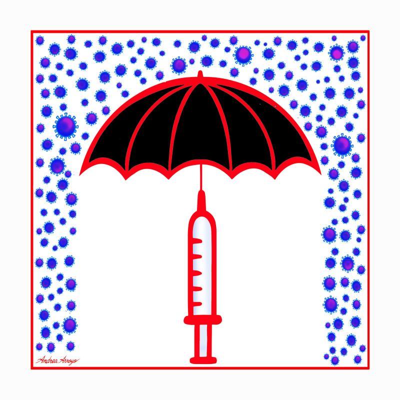 Syringe-Umbrella protecting from Covid rain.