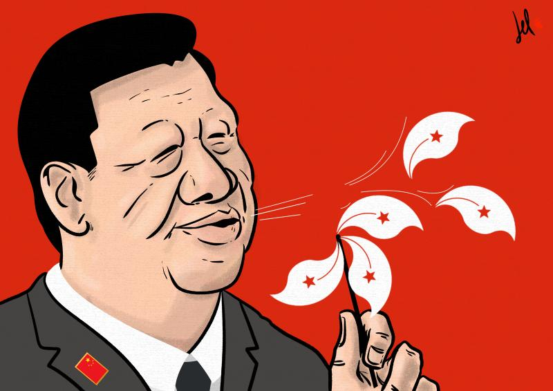 cartoon by emanuele del rosso about hong kong