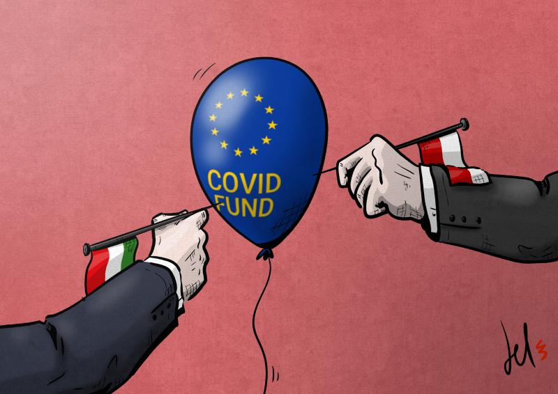cartoon by emanuele del rosso about the european union covid fund