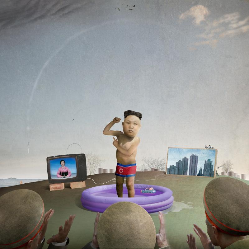 Kim Jong-un flexing his muscle.