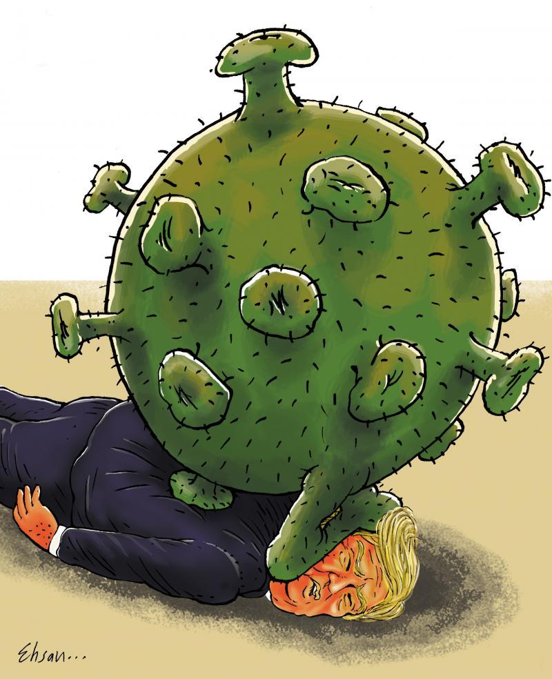 Cartoon about corona and Trump