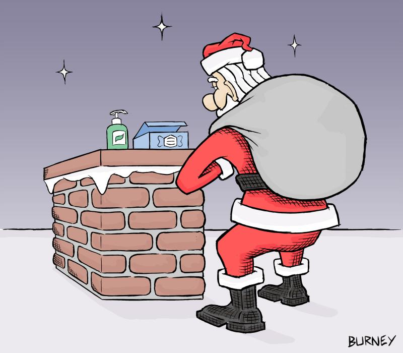 Santa asked to follow Covid precautions before climbing down the chimney.