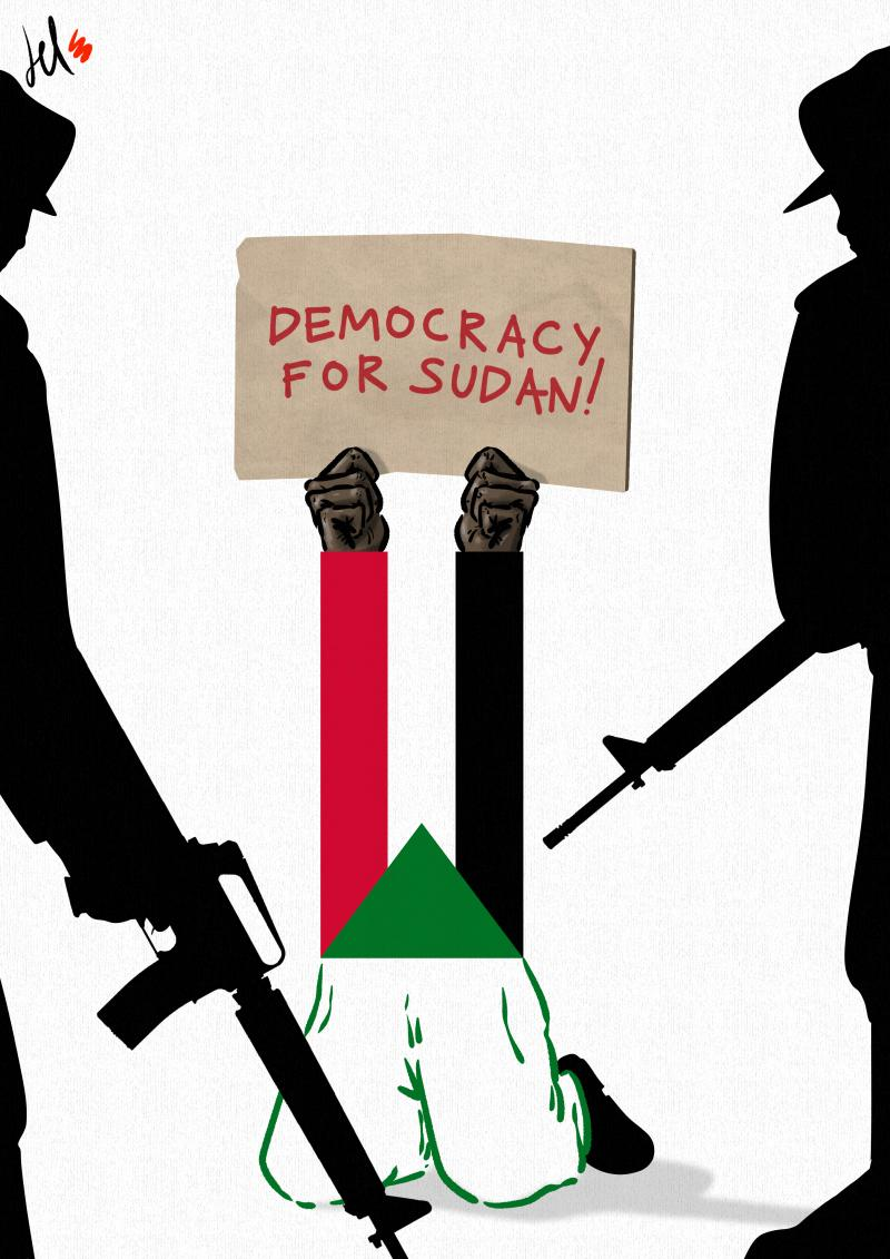 cartoon by emanuele del rosso about sudan coup