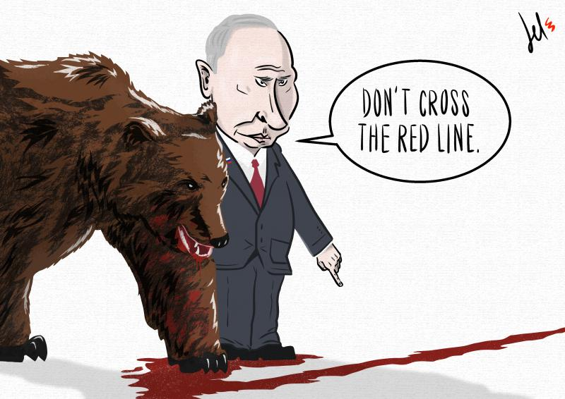 cartoon by emanuele del rosso about putin and russia