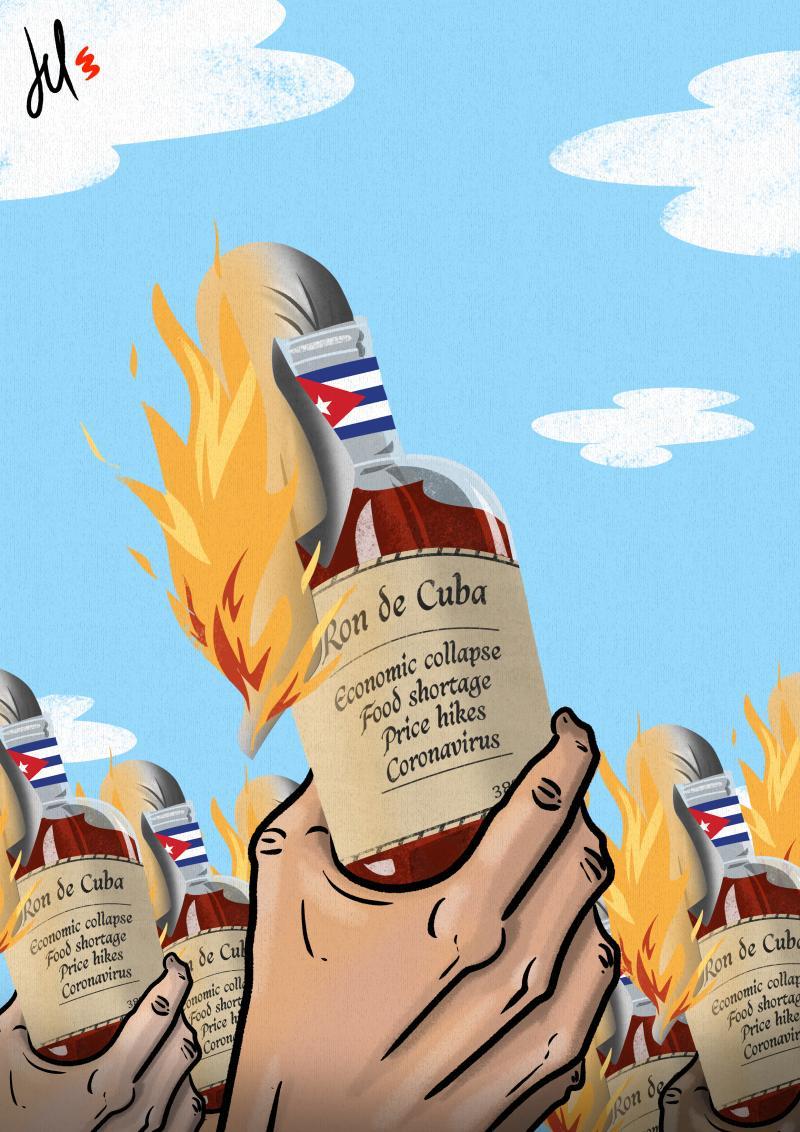 cartoon by emanuele del rosso about cuba