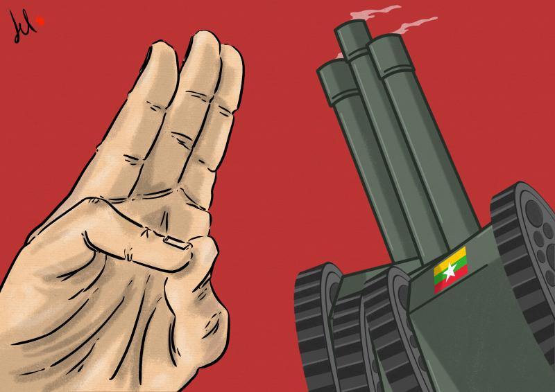 cartoon by emanuele del rosso about myanmar coup