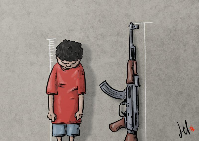 cartoon by emanuele del rosso about childern and war