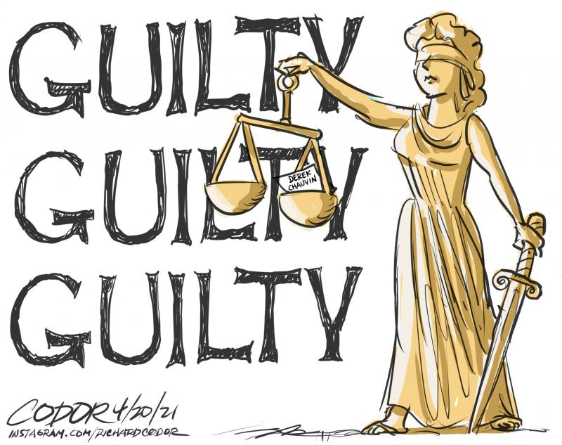 Cartoon about the conviction of Derek Chauvin