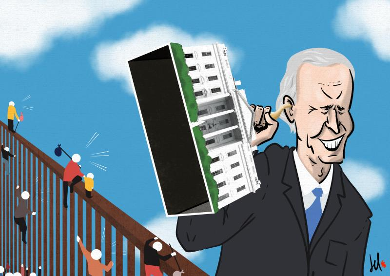 cartoon by emanuele del rosso about biden and migrations