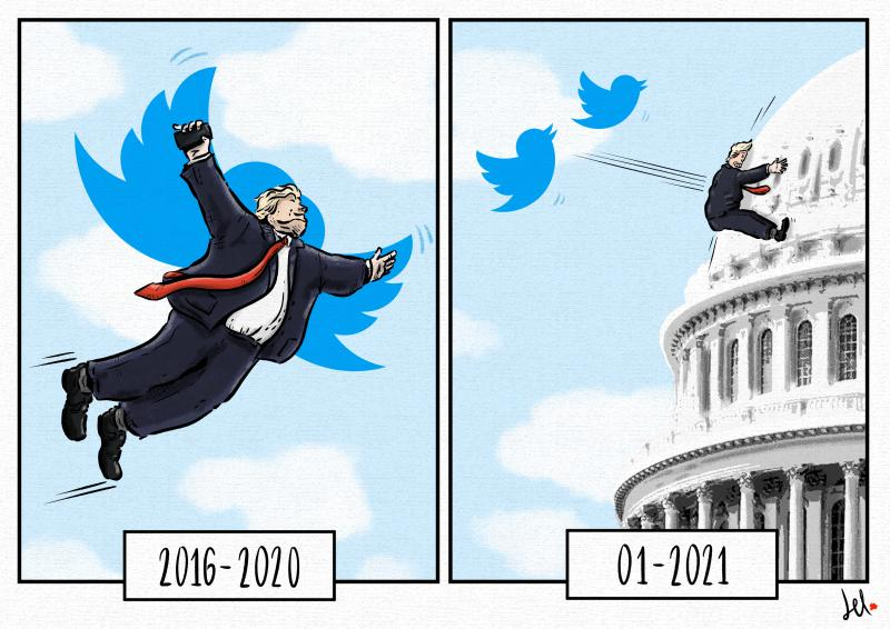 cartoon by emanuele del rosso about trump and twitter