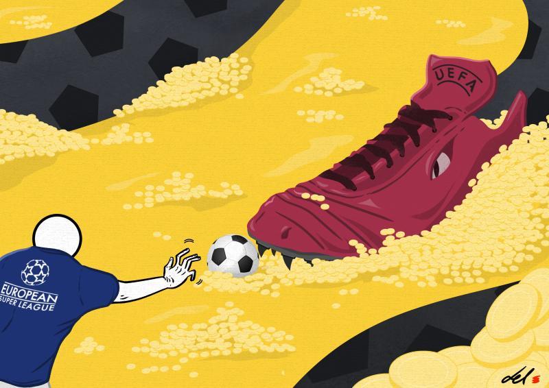 cartoon by emanuele del rosso about european super league