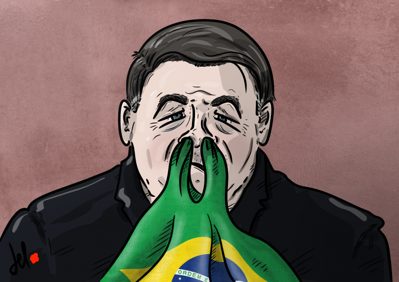 Cartoon by Emanuele Del Rosso about Brazil president Bolsonaro