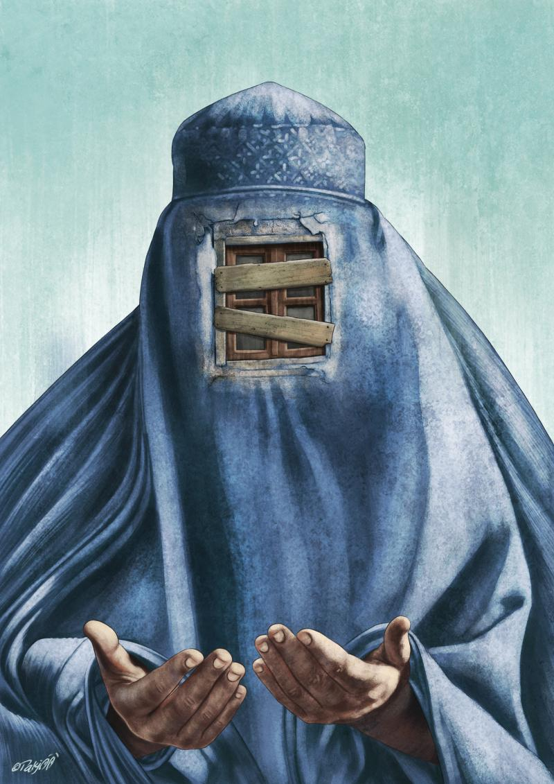 Cartoon about the burqa and oppression